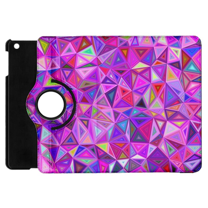 Pink Triangle Background Abstract Apple iPad Mini Flip 360 Case