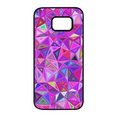 Pink Triangle Background Abstract Samsung Galaxy S7 Edge Black Seamless Case