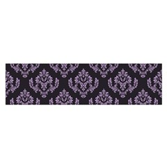 Damask Crocus Petal On Black  Satin Scarf (oblong) by TimelessFashion
