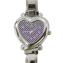 Diagonal Stripes In Crocus Petal And Black  Heart Italian Charm Watch by TimelessFashion