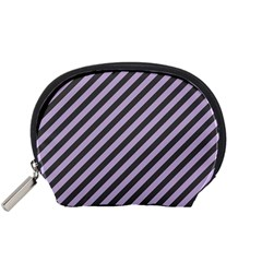 Diagonal Stripes In Crocus Petal And Black  Accessory Pouch (small)