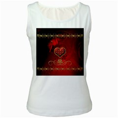 Wonderful Heart With Roses Women s White Tank Top by FantasyWorld7