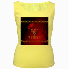 Wonderful Heart With Roses Women s Yellow Tank Top