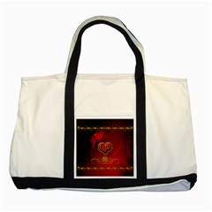 Wonderful Heart With Roses Two Tone Tote Bag