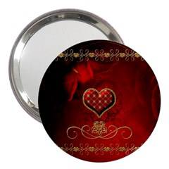 Wonderful Heart With Roses 3  Handbag Mirrors by FantasyWorld7