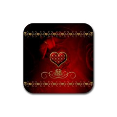 Wonderful Heart With Roses Rubber Square Coaster (4 Pack)