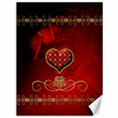 Wonderful Heart With Roses Canvas 36  X 48  by FantasyWorld7