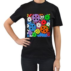 The Gears Are Turning Women s T Shirt (black) (two Sided) by WensdaiAddamns