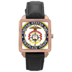 Seal Of United States Navy Chaplain Corps Rose Gold Leather Watch