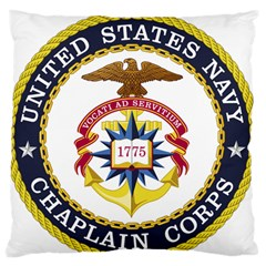 Seal Of United States Navy Chaplain Corps Large Flano Cushion Case (one Side)