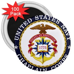 Seal Of United States Navy Chaplain Corps 3  Magnets (100 Pack) by abbeyz71