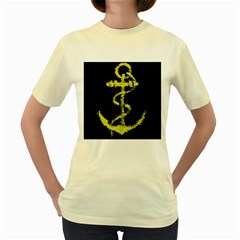 French Navy Golden Anchor Symbol Women s Yellow T Shirt