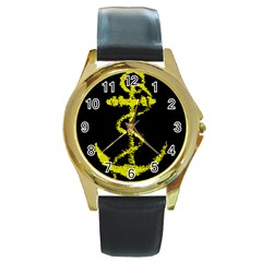 French Navy Golden Anchor Symbol Round Gold Metal Watch by abbeyz71
