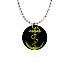 French Navy Golden Anchor Symbol 1  Button Necklace