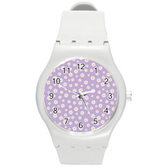 Field Of Daisies  Round Plastic Sport Watch (m) by TimelessFashion