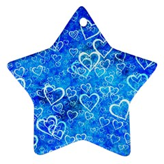 Valentine Heart Love Blue Ornament (star)