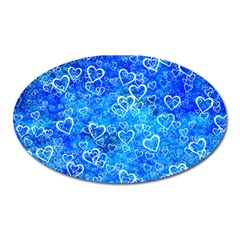 Valentine Heart Love Blue Oval Magnet by Mariart