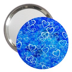 Valentine Heart Love Blue 3  Handbag Mirrors