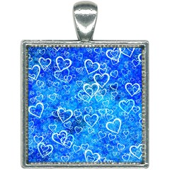 Valentine Heart Love Blue Square Necklace