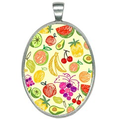 Seamless Pattern Fruit Oval Necklace by Mariart
