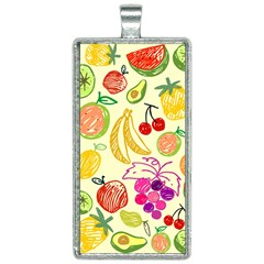Seamless Pattern Fruit Rectangle Necklace