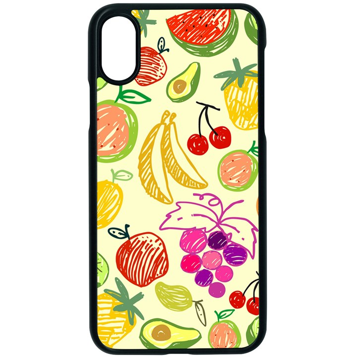 Seamless Pattern Fruit Apple iPhone XS Seamless Case (Black)