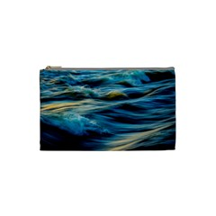 Ocean Waves Cosmetic Bag (small) by WensdaiAddamns