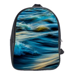 Ocean Waves School Bag (xl) by WensdaiAddamns