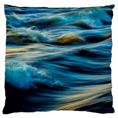 Ocean Waves Large Cushion Case (one Side) by WensdaiAddamns