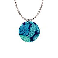 Tropical Greens Leaves Banana 1  Button Necklace