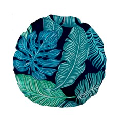 Tropical Greens Leaves Banana Standard 15  Premium Round Cushions by Mariart
