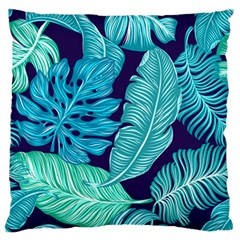 Tropical Greens Leaves Banana Large Flano Cushion Case (two Sides) by Mariart