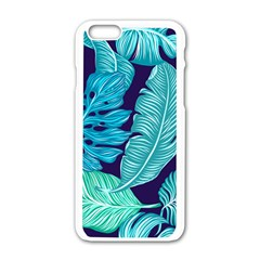 Tropical Greens Leaves Banana Apple Iphone 6/6s White Enamel Case