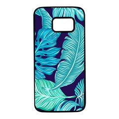 Tropical Greens Leaves Banana Samsung Galaxy S7 Black Seamless Case by Mariart