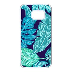 Tropical Greens Leaves Banana Samsung Galaxy S7 White Seamless Case