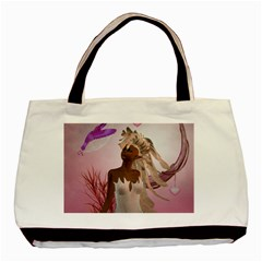 Wonderful Fairy With Feather Hair Basic Tote Bag
