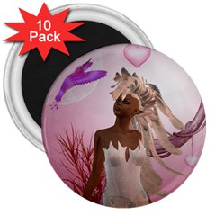 Wonderful Fairy With Feather Hair 3  Magnets (10 Pack)