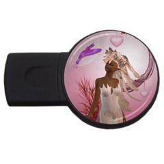 Wonderful Fairy With Feather Hair Usb Flash Drive Round (4 Gb)