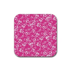 Fancy Floral Pattern Rubber Square Coaster (4 Pack)