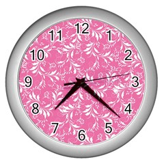 Fancy Floral Pattern Wall Clock (silver)