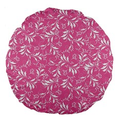 Fancy Floral Pattern Large 18  Premium Flano Round Cushions