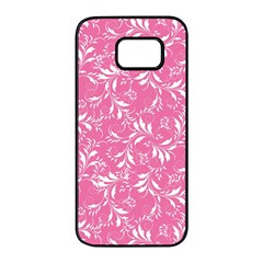 Fancy Floral Pattern Samsung Galaxy S7 Edge Black Seamless Case