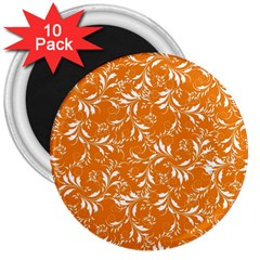 Fancy Floral Pattern 3  Magnets (10 Pack)