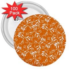 Fancy Floral Pattern 3  Buttons (100 Pack)