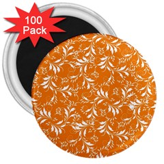 Fancy Floral Pattern 3  Magnets (100 Pack)