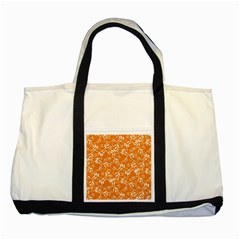 Fancy Floral Pattern Two Tone Tote Bag