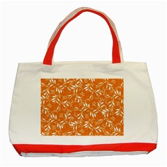 Fancy Floral Pattern Classic Tote Bag (red)