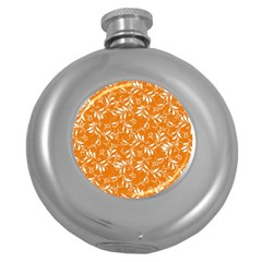 Fancy Floral Pattern Round Hip Flask (5 Oz)