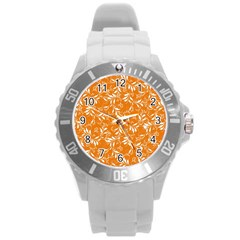 Fancy Floral Pattern Round Plastic Sport Watch (l)