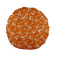 Fancy Floral Pattern Standard 15  Premium Flano Round Cushions